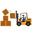 man lifting wooden boxes with forklift vector image