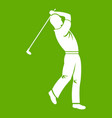 golf player icon green vector image
