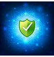 Safty shield securty network connection on blue vector image