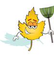 Cartoon Leaf with a Rake vector image