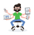geek guy with responsive devices vector image
