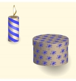 Gift in the box and and burning candle pattern vector image