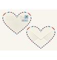 Heart shaped heart airmail envelope vector image