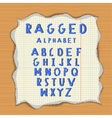 Ragged paper alphabet vector image