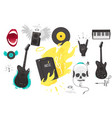 set of rock music heavy metal icons sign symbols vector image