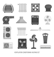 Ventilation Conditioning Heating Set vector image