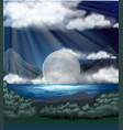 scene with fullmoon over lake vector image vector image
