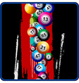Bingo Balls on black and red background vector image vector image