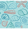 seashells and starfish seamless pattern vector image vector image