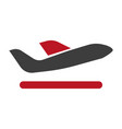 black plane with red wing minimalistic flat vector image