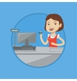 Cashier holding credit card at the checkout vector image