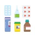 Pills capsules icons flat set vector image