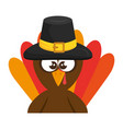 thanksgiving turkey with hat character icon vector image