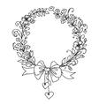 Floral vintage hand drawn wreath vector image vector image