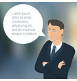 young business man with speech comment bubble vector image