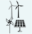 Solar panel and windmill vector image vector image