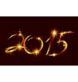 Christmas card with glow gold 2015 vector image