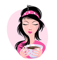 lovely girl holding a cup of delicious coffee vector image