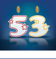 Birthday candle number 53 vector image
