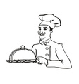 chef cook with a tray doodle vector image vector image