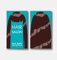 hair salon business card templates with brown hair vector image