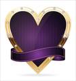 Gold and purple heart vector image