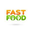 Fastfood word sign logo icon design template vector image