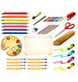 Stationary set with colorpencils and art objects vector image vector image