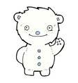 comic cartoon waving polar bear vector image