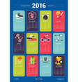 Calendar for 2016 Year with Sports Icons and vector image