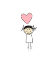 Saint valentine day - cute girl holding heart vector image vector image