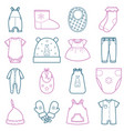 baby clothes set vector image