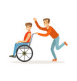 disabled young man in wheelchair smiling friend vector image