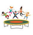 energetic kids jumping on trampoline vector image