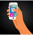 The hand with the phone vector image