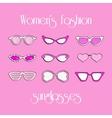 Women fashion isolated sunglasses set vector image