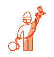 worker man silhouette painting vector image