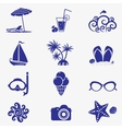 summer icons blue vector image vector image