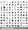 100 bicycle icons set simple style vector image vector image