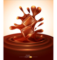 chocolate pieces falling into melted chocolate vector image