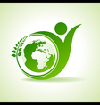Eco people celebration icon with leaf and earth vector image vector image