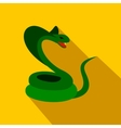 Green snake icon flat style vector image
