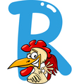 R for rooster vector image
