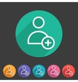 add user avatar icon flat web sign symbol logo vector image