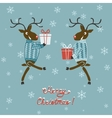 Christmas deer in sweater with gifts vector image