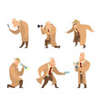 detective in different action pose vector image