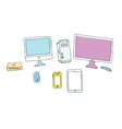 Doodle colored gadgets on white vector image