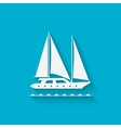 marine background with yacht vector image