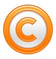 Orange copyright symbol sign matte icon vector image