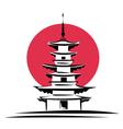 pagoda sunrise japan architecture vector image